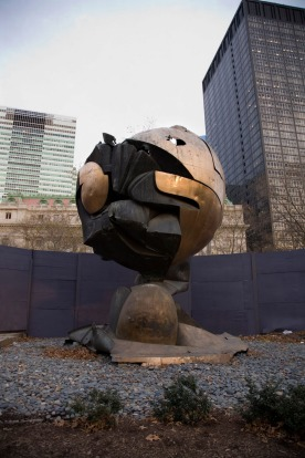 THE SCULPTURE THAT SURVIVED 9/11: For three decades it stood at the foot of the World Trade Centre and somehow it ...