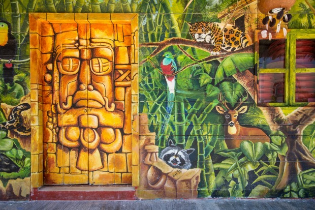 Painted exterior of a streetside cafe on Isla Holbox.
