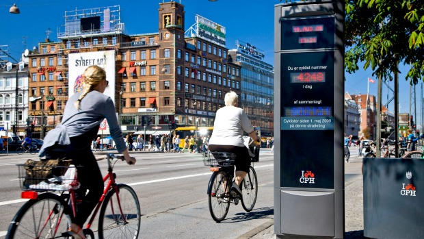 An electronic bicycle counter at the city hall square in Copenhagen, Denmark.