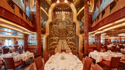 Britannica, the main dining area, with its striking art deco decor.