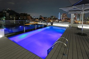 The rooftop pool at  Hotel Cumbres Lastarria, Santiago, Chile.