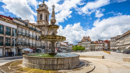A fountain in Toural Square, in the city centre of Guimaraes.