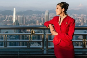 Cathay Pacific's uniform for female flight attendants.