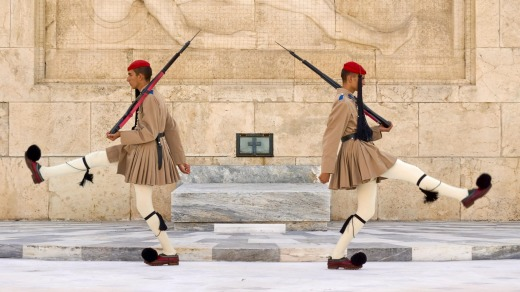 CHANGING OF THE GUARDS, ATHENS, GREECE. Each morning at 11am at the Tomb of the Unknown Soldier in Syntagma Square, ...