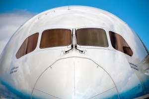 The front and cockpit windows of the new Boeing 787 'Dreamliner' .