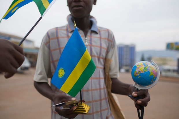 Rwanda: Some colour combinations are strong, and stand out well due to the contrasts. Blue, green and yellow is not one ...
