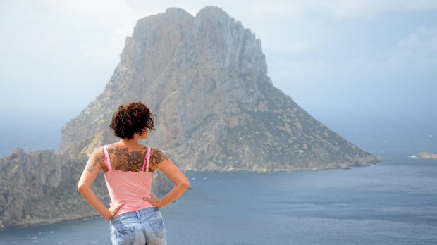 Es Vedra, an island situated two kilometres off the west coast of Ibiza, Spain.