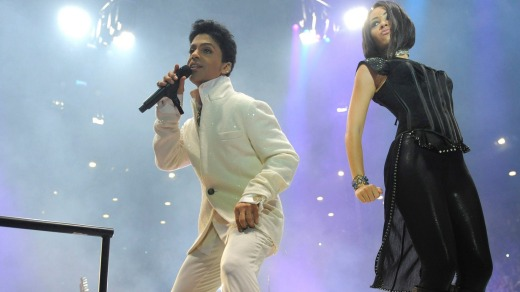 Prince performing at Rod Laver Arena in Melbourne during his 2012 tour.