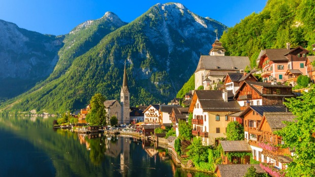 The famous alpine village of Hallstatt, Austria.