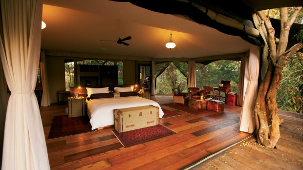 Mara Plains Camp has huge, luxurious tents, complete with brass and leather fittings, and a spacious wooden verandah ...