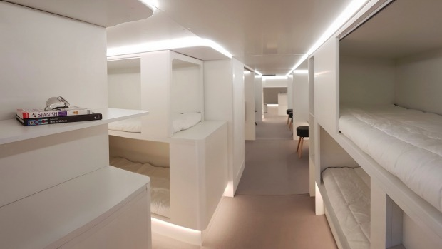 Lower Deck Pax Experience Modules from Airbus. The concept uses the plane cargo hold for beds or exercise zones.
