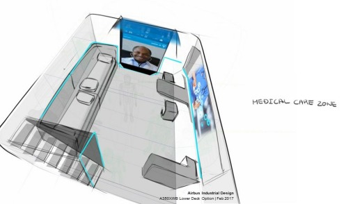 A design for an on-board medical care zone in the cargo hold.
