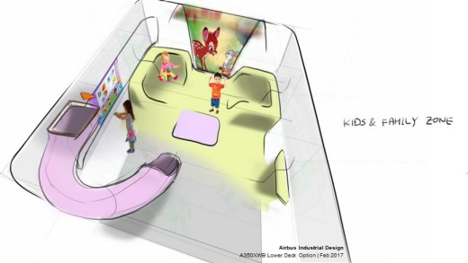 A design for a cargo hold kids zone.