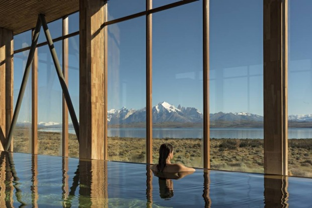 Tierra Patagonia, Chile: Who says you have to be somewhere tropical to enjoy a dip? The infinity pool at the Tierra ...