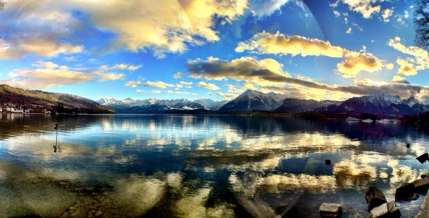 LAKE THUN, SWITZERLAND: The famous alpine resort town of Interlaken is a concrete blight but sits between Lake Thun and ...