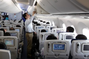 The economy class cabin of a Boeing 787 Dreamliner for All Nippon Airways.