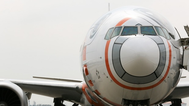 The nose of the airline's BB-8 themed Boeing 767.