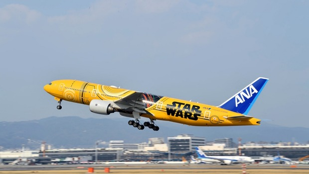 The airline's C-3PO themed Boeing 777.