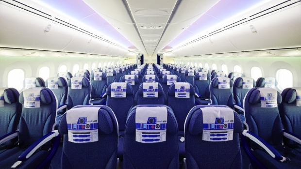 Inside ANA's R2-D2 themed plane.