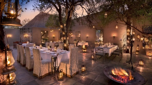 Outdoor dining in the courtyard at &Beyond Ngala Safari Lodge.