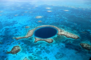 Great Blue Hole, a collapsed underwater cave system, Belize Barrier Reef.