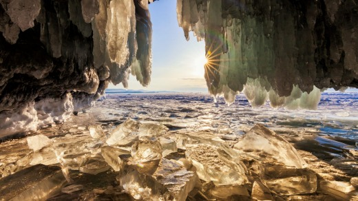 The view from the ice grotto at sunrise, Lake Baikal.