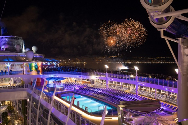 Fireworks show as Symphony of the Seas departs Malaga Spain.