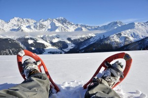 Snowshoe trekking in the Swiss Alps is one of the more sedate winter options.