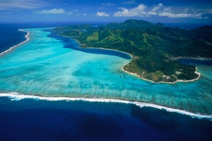 Aerial view of Huahine Island.