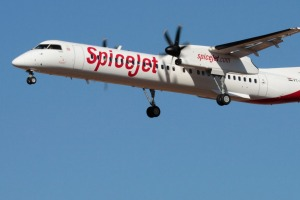A SpiceJet Bombardier Q400. This aircraft was developed from the de Havilland Canada Dash 8. SpiceJet has 23 of them in ...