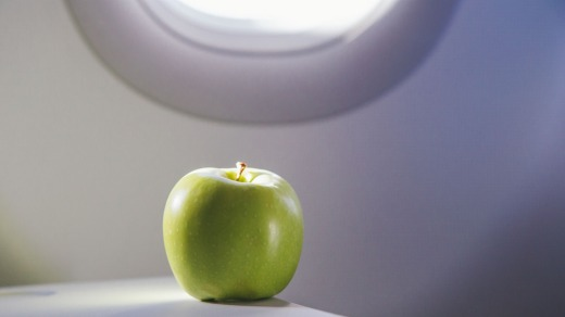 Fresh fruit must be consumed or discarded on board the plane.