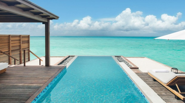 Fairmont Maldives Sirru Fen Fushi offers 120 luxury villas, each with a private pool.