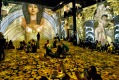 People look at the Austrian painter Gustav Klimt art projection at the l'Atelier des Lumieres gallery in Paris, France, ...