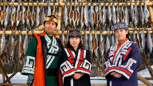 Ainu people at Ainu village museum.