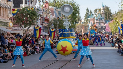 Pixar's famous lamp appears in the parade.