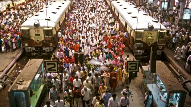 Rush hour commuters at busy Churchgate terminus on a normal day in Mumbai.