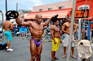 Bodybuilders can be seen working out at Muscle Beach in Venice, California.