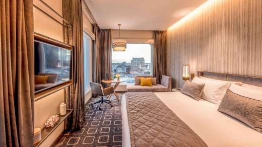 A ''Classic'' guest room at the Intercontinental, where clever floor design means no room is adjacent to the lifts.