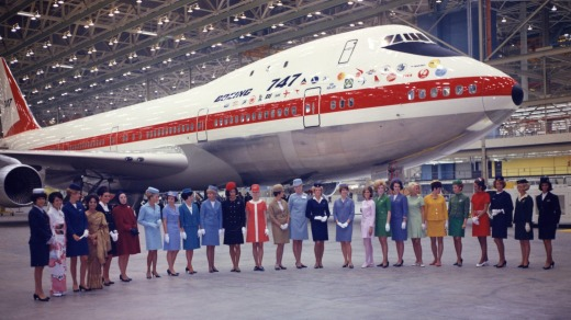 The Boeing 747 first entered service in 1970.