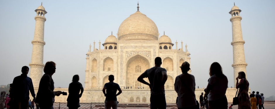 FILE - In this March 22, 2018 file photo, tourists visit India's famed monument of love, the Taj Mahal, in Agra, India. ...