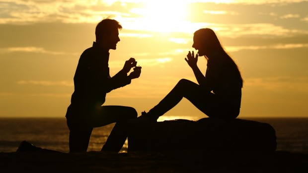 A romantic proposal at sunset. This is not how mine worked out.