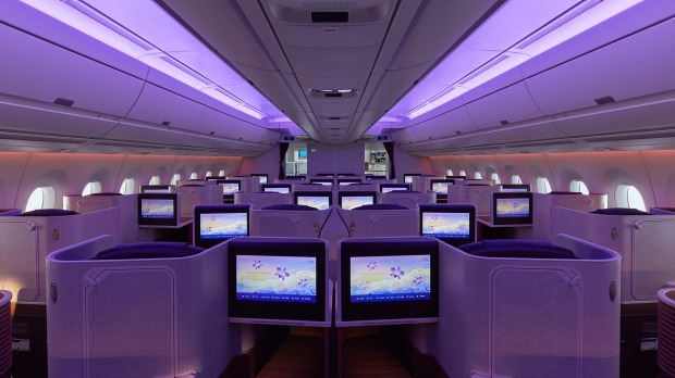 LED lighting in business class.