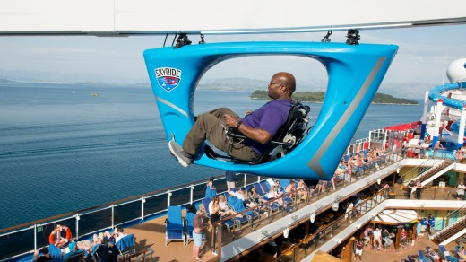 A guest aboard the Carnival Horizon pedals a SkyRide vehicle around much of the 133,500-ton cruise liner.
