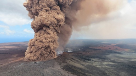 An ash plume rises from Kilauea on May 4.