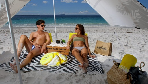 Hyams Beach Hampers: Everything you might need for a decidedly fancy day at the seaside.