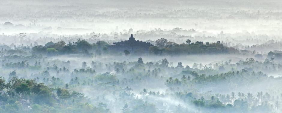 Borobudur, a 9th-century Buddhist Temple in Magelang, near Yogyakarta in central Java, Indonesia.