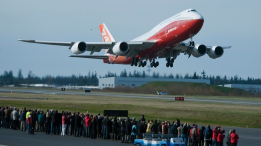 The latest, and possibly last, version of the 747, the 747-8, takes off on its first flight from the Boeing factory in 2010.