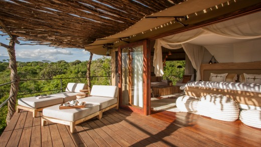 Suites at Mwiba Lodge open onto terraces.