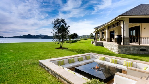 The lodge's sunken terrace and fire pit.