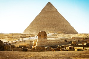 The Sphinx with The Great Pyramids of Giza.